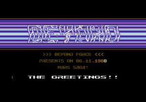 Kräkki-intro Commodore 64:lle, Beyond Force (1988).